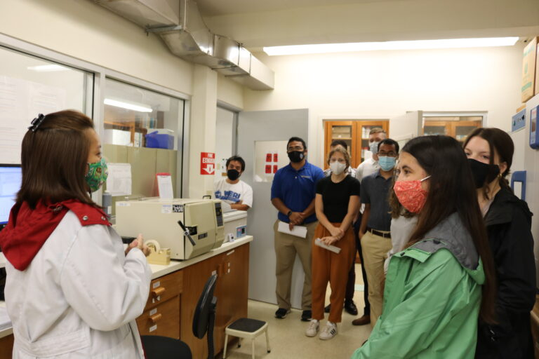 Ten engineering students from the University of Pittsburg get a tour of WERI's Water Quality Lab. Photo by Dannika Valerio.